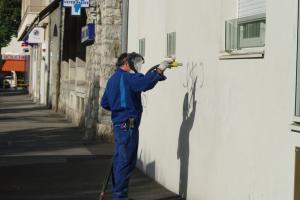 Hydrogommage d'un mur extérieur
